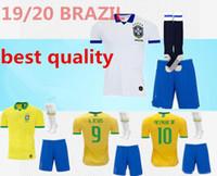 kits de futebol amarelo venda por atacado-2019 Brazil home Kit Adulto Camisa de Futebol 19 20 Brasil amarelo FIRMINO MARCELO G.JESUS calça de futebol P.COUTINHO + Shorts meias