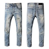 jeans de moda urbana venda por atacado-Wholesale New New kpop rasgado hop moda calças legal mens urbano roupas macacão jeans masculinos