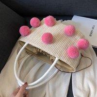 mode farbige handtaschen großhandel-2019 Summer Fashion New Einkaufstasche Quality Weaving Damen Designer Handtasche Colored Hair Ball Schulter Messenger Bag Beach