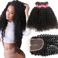 Wholesale 3bundles brazilian weave online - 8A Mongolian Kinky Curly Deep Wave Loose Straight Body Wave Virgin Hair Bundles With Lace Closure Brazilian Peruvian Mongolian Hair