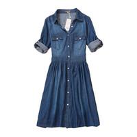 yüksek kaliteli giyim kadın artı boyutu toptan satış-Yüksek Kalite Sonbahar Denim Elbise Giyim Artı Boyutu Kadın Kot Elbise Zarif Bahar Ince Kovboy Günlük Elbiseler Vestidos Y19070801