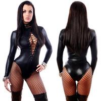 erotischer kunstleder-catsuit groihandel-Frauen Gothic Kunstleder Bodysuit Punk Langarm Catsuit Erotic Lace Up High Cut Leotard Fetisch-Wäsche-Abendkleid