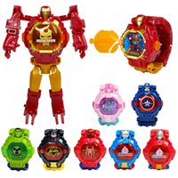 kinder spielzeug mann großhandel-2019 Hot Sell verformter elektronische Uhr Kinder-Spielzeug Marvel Roboter Iron Man Captain America Karikatur verwandelt Roboter Uhr Kinder Spielzeug