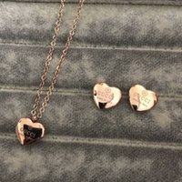 boucles d'oreilles pendentif coeur achat en gros de-Bijoux de haute qualité mis en acier inoxydable or argent plaqué or rose femmes coeur pendentif collier boucles d'oreilles mis en gros