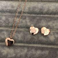 porzellan-marken-schmuck großhandel-Hochwertige Marke Schmuck Set Edelstahl Gold Silber Rose Gold überzogene Frauen Herz Anhänger Halskette Ohrringe Set Großhandel