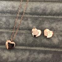 küpeler kalp seti toptan satış-Yüksek Kalite Marka Takı seti Paslanmaz Çelik Altın gümüş gül altın Kaplama kadın kalp kolye kolye küpe seti toptan