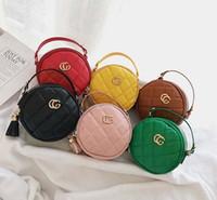 ingrosso sacchetti borsa rotonda mini-Borse per bambini Moda Coreano Neonate Mini Borse da principessa Designer Lovely Borse rotonde per bambini Borse a tracolla per ragazze
