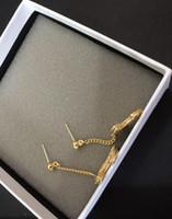 ingrosso orecchini di goccia del rhinestone di tono dell'oro-Moda popolare Orecchino a goccia color oro versione alta per donna donna Gioielli firmati per Sposa Con borsa in flanella con logo