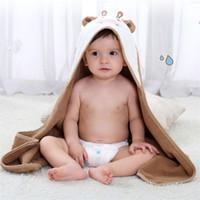 toalha de banho do bebê verde venda por atacado-Novo rosa verde pequena vaca com capuz roupão infantil bebê algodão macio manto toalha de banho