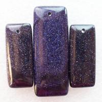 ingrosso pietra oblunga-New Natural 3pcs / Set Blue Sand Stone Oblong Gemstone Jewelry Pendenti Set di perline per collane Fare all'ingrosso