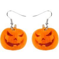 Wholesale gifts for girl teens for sale - Group buy Acrylic Halloween Smile Pumpkin Earrings Big Long Dangle Drop Fashion Novelty Jewelry For Women Girl Teens Gift