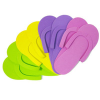 ingrosso pantofole di schiuma spa-6 paia di pantofole monouso in schiuma Pedicure Spa di alta qualità Flip Flop Colori assortiti per strumento di cura del piede Salon
