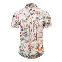 camisa do teste padrão do pássaro venda por atacado-Explosão Primavera e no verão Harajuku Medusa Pássaro flor padrão de impressão floral Camisas Dos Homens Medusa Casual Algodão Homens camisas de manga Curta M - 2XL