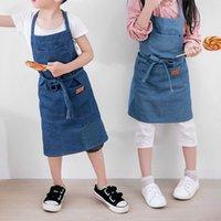 tabliers coréens achat en gros de-Tabliers Enfants Cuisson Cuisine Coton Denim Tabliers pour Femme Version coréenne de The Smock Cuisson Enfants Tabliers Pour La Cuisine