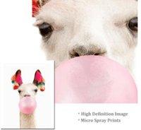 Wholesale llama decor for sale - Group buy Llama Print Bubble Gum Wall Art Alpaca Boho Style Canvas Art Painting Animal Wall Picture Nursery Kids Room Decor Funny Poster