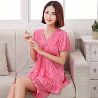buz örtüsü gecelik toptan satış-Kadınlar Dantel Sleepshirt İç pijamalar Bayan 2 Adet nightgown için Maxi 5XL Yaz Seksi İpek Saten Gece Gömlekler 2PCS Seti