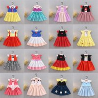 dhl stilleri giyim toptan satış-38 Stilleri Küçük Kızlar Prenses Elbiseler Yaz Çocuklar Çocuk Bebek Karikatür Pamuklu Giysiler Yay Çizgili Parti Kostüm Cosplay DHL WX9-1478