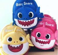 ingrosso zaini dei bambini gialli-2019 New Cartoon Baby Shark Sacchetto di scuola per bambini Bambini carino peluche scuola zaino Shark Baby Blue Rose giallo colore ragazzi Schoolbag