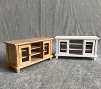 conjuntos de mobiliário para sala de estar venda por atacado-1:12 Casa de Bonecas Mobiliário Em Miniatura De Madeira TV Armário Sala de Estar De Madeira Make Up Dollhouse Mobiliário Acessórios