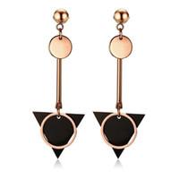 schwarzes dreieck baumeln ohrringe großhandel-Mode Damen Geometrische Chirurgenstahl BlackRose Vergoldet Dreieck Tropfen Baumeln Quaste Ohrringe
