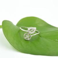 ingrosso belle perle-Fabbrica outlet argento belle foglie design anello di montaggio per gioielli fai da te con 8-7 mm perle regolabili