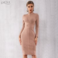 ingrosso maniche nere di fasciatura-Adyce 2019 New Winter Bodycon Bandage Dress Women Sexy Nude manica lunga Midi Club Dress Vestidos Celebrity Evening Party Dresses T190830