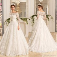 Wholesale bridal gowns buttons back for sale - Group buy Ivory Lace Plus Size Wedding Dresses Off Shoulder Long Sleeves Button Sheer Back A line Bohemian Bridal Gowns