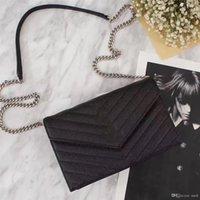 ingrosso portafoglio in pelle nera con zip-Vendita calda Borse donna Borse firmate portafogli per donna vera borsa tracolla in vera pelle con tracolla con hardware oro / argento / nero