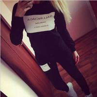 seksi sıcak kadın kostümleri toptan satış-2019 Sıcak Satış Yeni Kadın Eşofman Rahat Hoodies Eşofman Set Set O-Boyun Seksi Kazak Pantolon Gri Siyah Kıyafetler Kostümleri Artı Boyutu Suits