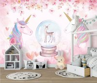 corredor parede papel de parede venda por atacado-Papel de parede do 3D Watercolor Unicorn Art Mural Vida Quarto fundo Corredor Children Room Photo Wallpaper Behang