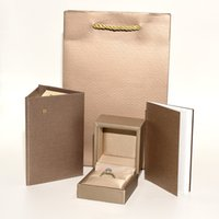 Wholesale paper jewelry set box resale online - Top quality Luxury Jewelry Original Packaging Box set Paper bags Certificate Ring Gift Box