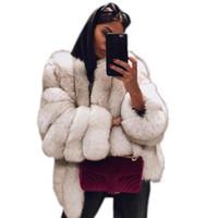 mujer peluda al por mayor-Caliente delgado de la manera de imitación de los abrigos de pieles del invierno de las mujeres Tamaño suave peludo chaquetas de manga larga Plus Abrir la puntada rebecas Abrigo Outwear