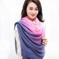 Wholesale Women Gradient Silk Scarf Fashion Soft Elegant Long Wrap Scarves Ladies Printed Shawl poncho wraps Winter Scarves colors GGA1637