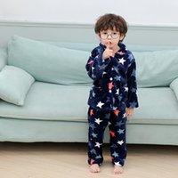 kinder flanell pyjamas groihandel-Winter Flanell Kids Pyjamas Sets Kinder Warm Nachtwäsche Cartoon Karikatur-Druck-Baby-Jungen Nachtwäsche Kinder Pyjamas 1-5 Jahre LY191231