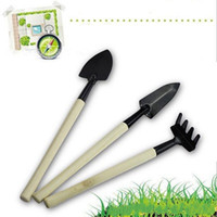 Wholesale garden hand shovel for sale - Group buy 3Pcs Set Mini Compact Plant Garden Hand Wood Tool Kit Pot Culture Tool Spade Shovel Rake For Gardener