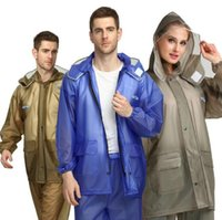 ropa de lluvia unisex al por mayor-Adulto Engrosamiento Montar Impermeable PVC Split Impermeable Traje Acampar al aire libre Impermeable Impermeable Unisex Moda Desgaste de la lluvia