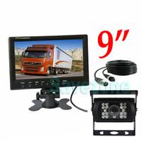 "12V-24V CCD Reverse Backup Camera 4Pin + 9"" Car Monitor Rear View Kit Truck 15m Cable"