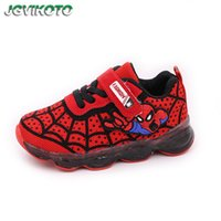 spiderman schuhe großhandel-Kleinkind Big Boys Sportschuhe Kids Luminous Glowing Sneakers Kinder Sport Casual Laufschuhe Spiderman Led Schuhe 21-36 Y190525