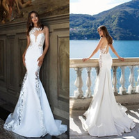 Wholesale bridal gowns buttons back resale online - Beach Wedding Dresses robe de marriage Button Back Sweep Train Mermaid Bridal Gowns With Applique Elegant Wedding Gowns