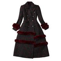 elegante ropa exterior al por mayor-Mujeres otoño invierno tweed capa larga a cuadros patchwork pelo de conejo muescas collar de doble botonadura elegante prendas de abrigo 2018