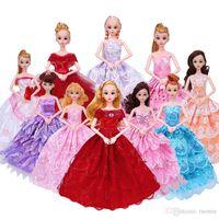 ingrosso scarpe da bambola per il bambino-New Barbie Doll Princess Cinderella Dress + 6x Accessori Crown Collana Scarpe Dancing Party Clothes giocattolo per bambini