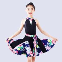 kinder latin tanz tragen kostüme großhandel-Latin Dance Kostüm Kinder üben Kleidung Rumba Dance Wear Tango Wettbewerb Kleider Kinder Samba Performance Kleidung DQL1307