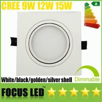 coquille blanche légère encastrée achat en gros de-Couvercle givré carré 9W 12W 15W LED luminaire inclinable, plafonnier encastré, lampes intérieures, blanc / noir / argent / coque dorée