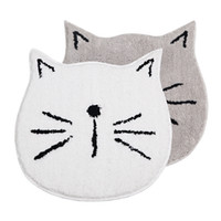 caracol amarillo al por mayor-60x60cm blanco / gris gato en forma de flocado antideslizante alfombra de dibujos animados alfombra de baño PE botón absorbente felpudo alfombra en forma de caracol