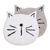 gelbe schnecke großhandel-60x60cm weiße / graue Katze geformt strömte Anti-Rutsch-Karikaturteppich Badezimmermatte PE-Knopf saugfähige Fußmatte Schnecke geformte Wolldecke
