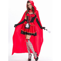 Wholesale halloween costumes sexy little red for sale - Group buy little red riding hood costume sexy cosplay red glitter sequins role playing dress helloween costumes for women M L XL