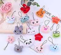 Wholesale animal mobile phone charms resale online - Cute cartoon plush animal head hanger Preferential Promotion of Diy Small Gift Bag Mobile Phone Hanging Rope