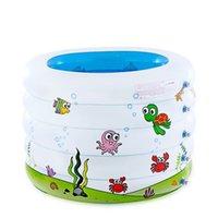 ingrosso vasca gonfiabile-Vasca da bagno per bambini gonfiabile piscina per bambini portatile 106x75cm Mini-parco giochi per bambini Stagno in PVC ecologico