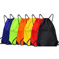 yüzme için su geçirmez cep çantaları toptan satış-Su geçirmez Fermuar Spor Spor Spor Çantası Katlanabilir Sırt Çantası İpli Alışveriş Cep Yürüyüş Kamp Kılıfı Plaj Yüzme Çanta FT32