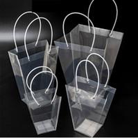 bolsos de pvc de plastico al por mayor-Bolsa de regalo transparente trapezoidal Bolsa de almacenamiento de plástico Bolsas de flores de PVC Tienda Bolsas de embalaje Bolsas de flores para fiestas Fiestas Nuevos GGA2565